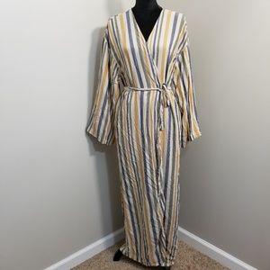 Akka Bella Striped Bell Sleeve Belted Wrap Dress L